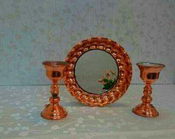 آینه و شمعدان مسی